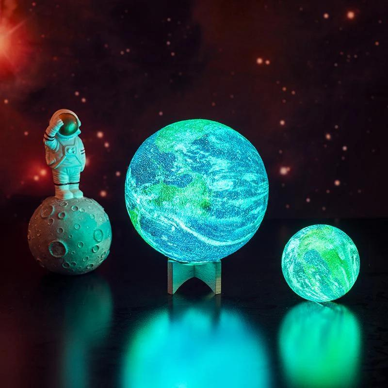 Image of 3D Printed Earth Lamp Rechargeable Planet Night Light