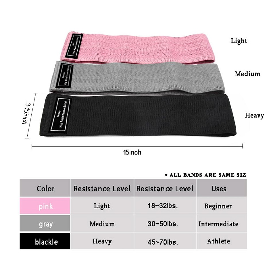 Workout Fitness Hip Loop Resistance Bands Product Size