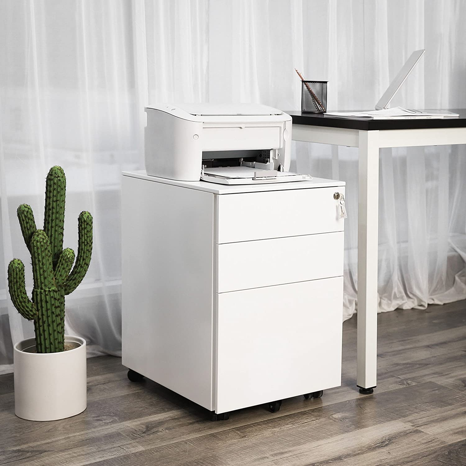 Image of 3 Drawers 5 Wheels Mobile File Cabinet