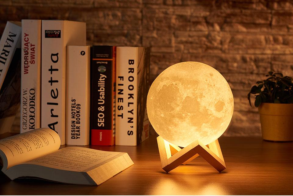 Image of 3D printed 3 Color Tap Control moon night light